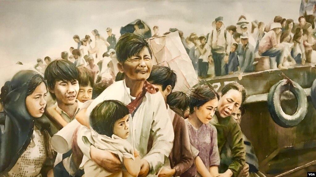 Tranh màu nước về người tị nạn Việt Nam được trưng bày tại cuộc triễn lãm của Tiffany Chung tại Viện Bảo tàng Nghệ thuật Smithsonium ở Washington D.C.
