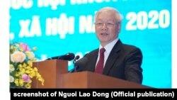 Lãnh đạo cao nhất Việt Nam, ông Nguyễn Phú Trọng, tại hội nghị với chính phủ hôm 30/12/2019