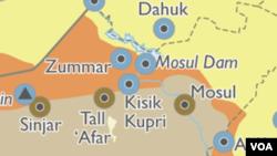 Peta wilayah Mosul, Irak Utara.