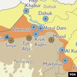 ແຜນທີ່ບໍລິເວນເມືອງ Mosul, ປະເທດ ອີຣັກ.