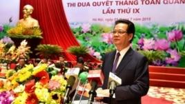 Thủ tướng Nguyễn Tấn Dũng tới dự và phát biểu tại Đại hội Thi đua Quyết thắng toàn quân lần thứ IX ngày 1/7/2015.