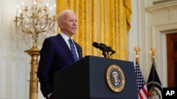 ប្រធានាធិបតីសហរដ្ឋអាមេរិក លោក Joe Biden ថ្លែងក្នុងអំឡុងពេលនៃសន្និសីទកាសែតមួយនៅសេតវិមាន ថ្ងៃព្រហស្បតិ៍ ទី២៥ ខែមីនា ឆ្នាំ២០២១។