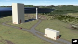 FILE - This image courtesy of Alaska Aerospace Corporation shows an illustration of a new launch pad at the Kodiak Launch Complex, June 29, 2012.