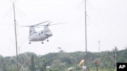 美國海軍陸戰隊直昇機抵達巴拉望軍事基地