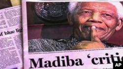 Surat kabar di Afrika Selatan yang mengabarkan kondisi Nelson Mandela, menggunakan nama akrab Mandela, Madiba.