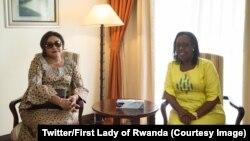 Molongani ya president Felix Tshisekedi, Denise Nyakeru, na masolo na mokokaani wa ye, mwasi ya president Paul Kagame, na Kigali, Rwanda, 9 juin 2019. (Twitter/Firs Lady of Rwanda)