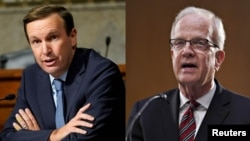 Sen. Chris Murphy, D-Conn (left) and Sen. Jerry Moran, R-Kan. (right) led a bipartisan letter calling on U.S. Secretary of State Antony Blinken to support COVID-19 vaccination efforts for the nine million Americans living abroad.