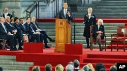 U.S. President, Barack Obama addresses the members of both houses of the the British Parliament in Westminster Hall in London, May 25, 2011