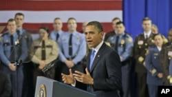 4일 미국 미니애폴리스 경찰서에서 총기 규제에 관해 연설한 바락 오바마 미국 대통령.