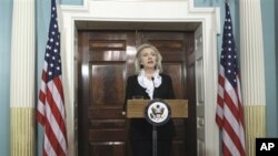 Secretary of State Hillary Clinton makes a statement calling on President Assad of Syria to step aside, Thursday, Aug. 18, 2011, at the State Department in Washington. (AP Photo/Luis M. Alvarez)