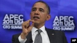 APEC ထိပ္သီးစည္းေ၀း တက္ေရာက္ေနသည့္ အေမရိကန္သမၼတ ဘရက္အုိဘားမား။ (ႏို၀င္ဘာလ ၁၂၊ ၂၀၁၁)