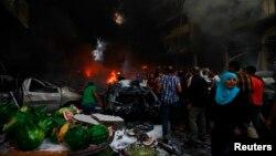 Lokasi ledakan di pinggiran kota Beirut sebelah selatan (15/8).