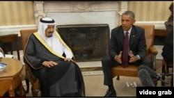 奥巴马总统2015年9月在白宫会见沙特国王萨尔曼(VOA视频截图)