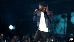 Rapper Stormzy performs on stage at the Brit Awards 2017 in London, Feb. 22, 2017.