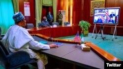 Shugaba Buhari, yayin da suke taro da Sakataren harkokin wajen Amurka, Antony Blinken (Twitter/@bashiraahmad)