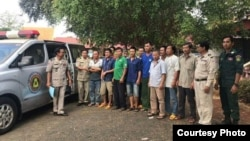 Twelve Vietnamese nationals were arrested by Cambodian authorities in Ratanakkiri Province over an alleged illegal border trespassing and deforestation. (Photo: Royal Government of Cambodia)