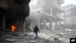 Arbin, ville assiégée de l'est de la Ghouta en prériphérie de Damas, 2 janvier 2018.