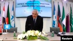 석유수출기구(OECD) 압둘라 알 바드리 사무총장이 4일 오스트리아에서 각료회의가 끝난 후 기자회견에 참석했다.