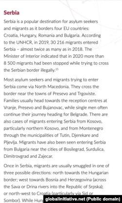 Deo odlomka izveštaja o Srbiji posvećen kretanju azilanata i migranta