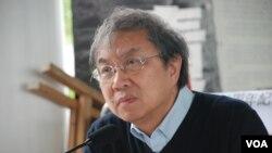 真普選聯盟召集人鄭宇碩認為,香港推動民主是愛國的表現 (湯惠芸拍攝)