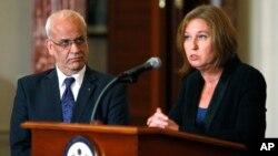 Саеб Эрекат и Ципи Ливни на пресс-конференции в Госдепартаменте США