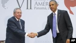 2015年4月11日美国总统奥巴马和古巴总统劳尔·卡斯特罗巴拿马城非正式会谈 (资料照片)