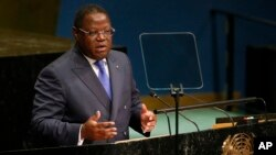 FILE - Gabon's then-Foreign Minister Emmanuel Issoze Ngondet addresses the United Nations General Assembly at U.N. headquarters, Sept. 24, 2016. Gabon President Ali Bongo promoted Ngondet to the post of Prime Minister on Wednesday.