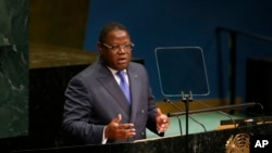 FILE - Gabon's Foreign Minister Emmanuel Issoze-Ngondet addresses the 71st session of the United Nations General Assembly at U.N. headquarters, Sept. 24, 2016.
