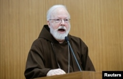 "U.S. Cardinal Sean O'Malley speaks during the ""Safeguarding in Homes and Schools"" seminar at the Pontifical Gregorian University in Rome, March 23, 2017."