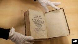 The book titled 'Mikne Avram - Peculium Abrae' is displayed at the Jewish Museum in Prague, Czech Republic, Jan. 16, 2018.