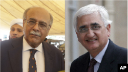 پی سی بی کے سابق چیئرمین نجم سیٹھی اور بھارت کے سابق وزیر خارجہ سلمان خورشید۔ فائل فوٹو