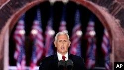 Phó TT Mike Pence phát biểu trong ngày thứ 3 của Đại hội Toàn quốc Đảng Cộng hòa, tại Fort McHenry, ngày thứ Tư 26/8/2020. (AP Photo/Andrew Harnik)