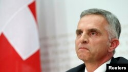 Swiss President and Foreign Minister Didier Burkhalter addresses a news conference in Bern, Feb. 9, 2014.