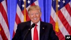 ປະທານາທິບໍດີທີ່ຖືກເລືອກໃໝ່ ທ່ານ Donald Trump ກ່າວໃນລະຫວ່າງ ກອງປະຊຸມຖະແຫຼງຂ່າວ. ນະຄອນ ນິວຢອກ. 11 ມັງກອນ 2017.