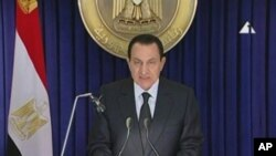In this image made from video broadcast, Jan. 28, 2011, Egyptian President Hosni Mubarak appears on television saying he has asked his Cabinet to resign, in his first appearance on television since protests erupted demanding his ouster.