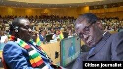 Robert Mugabe Emmerson Mnangagwa Asleep