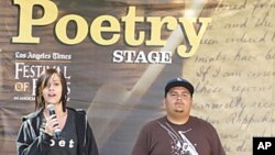 Dario Serrano and Briauna Taylor performing their group poem at the Los Angeles Times Festival of Books