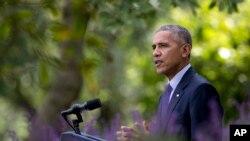 美國總統奧巴馬在白宮玫瑰園就巴黎氣候協議即將生效講話。 (2016年10月5日)