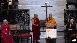 The Dalai Lama speaks after being awarded the Templeton Prize during his first visit to St Paul's Cathedral in London May 14, 2012. The Templeton Prize valued at 1.1m pounds ($1.7) is the world's largest award given to an individual, honouring a living pe
