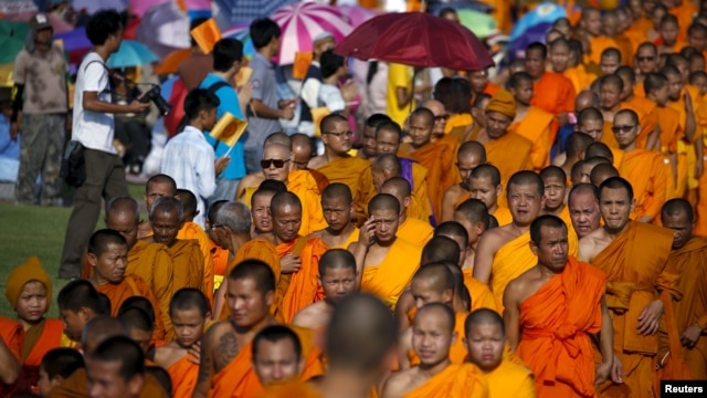Buddhist monks take part in a protest against state interference in religious affairs at a temple in Nakhon Pathom province on the outskirts of Bangkok, Thailand, Feb. 15, 2016.