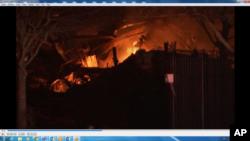 دھماکے کے بعد عمارت میں آگ بھڑک اٹھی جسے فائر بریگیڈ کے کارکنوں نے قابو پانے کی کوشش کی۔