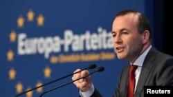 歐洲議會歐洲人民黨聯盟主席韋伯(Manfred Weber)2019年3月30日在德國紐倫堡發表演說。