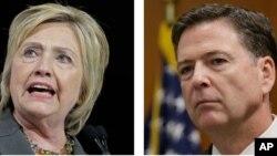 Ảnh tư liệu - Ứng cử viên tổng thống Đảng Dân chủ Hillary Clinton (trái) và Giám đốc FBI James. Comey.