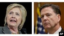 Ứng cử viên tranh cử tổng thống của Đảng Dân chủ Hillary Clinton và Giám đốc FBI James Comey.