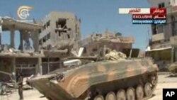 6月5日﹐黎巴嫩真主黨的電視台播放的畫面顯示﹐敘利亞軍隊坦克在庫賽爾地區。