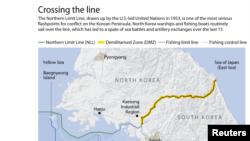 서해 북방한계선 NLL(왼쪽 녹색선)을 표시한 지도. 한국 국회 국방위원회 소속 송영근 새누리당 의원이 공개한 자료에 따르면 북한의 어선과 경비정이 최근 5년 간 서해 북방한계선을 201 차례 침범한 것으로 나타났다.