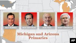 ການເລືອກຕັ້ງຂັ້ນຕົ້ນ ຢູ່ລັດ Arizona ແລະ Michigan (28 ກຸມພາ 2012)