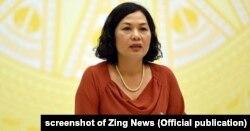Phó Thống đốc Ngân hàng Nhà nước Việt Nam Nguyễn Thị Hồng tại họp báo hôm 2/4/2018