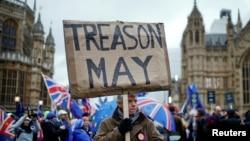 Manifestation devant le Parlement britannique, à Londres, le 15 janvier 2019.