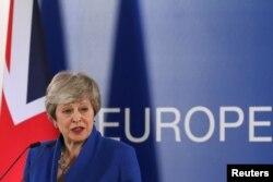 테레사 메이 영국 총리가 11일 벨기에 브뤼셀에서 EU 정상회의를 마친 후 기자회견을 열었다
